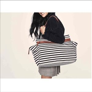 NEW Striped Overnighted Tote
